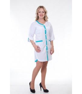 Медицинский женский халат с окантовкой (бирюза) Х-2160