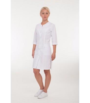 Медицинский женский халат белый с вышивкой 2171