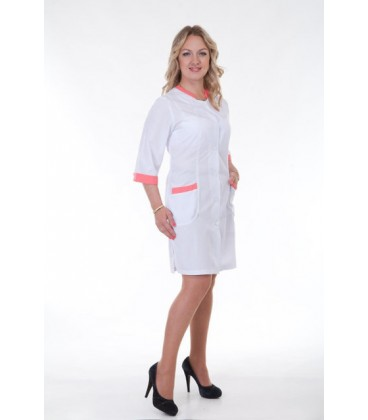 Медицинский женский халат с вставками (персик) Х-2152