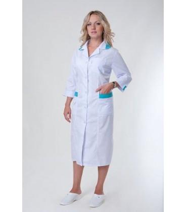 Медицинский женский халат длинный с вставками (бирюза) Х-2133
