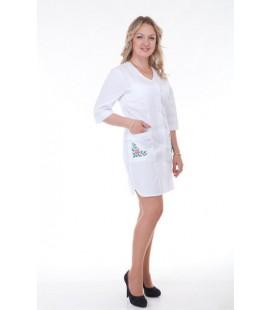 Медицинский женский халат с вышивкой Х-2163