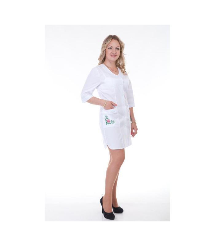 f4966fa069c Медицинский женский халат с вышивкой Х-2163 - MaxiMini.com.ua