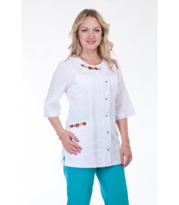 Медицинский женский костюм с вышивкой ( бирюза ) К-2263