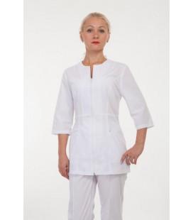 Медицинский костюм 4286 на замке белый