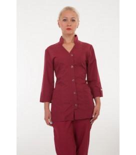 Медицинский женский костюм 4211 бордовый
