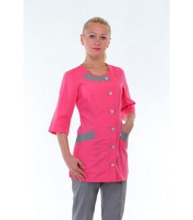 Медицинский женский костюм 4266 малиновый с серым