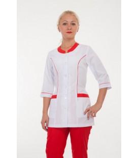 Медицинский костюм 4276 белый с красным