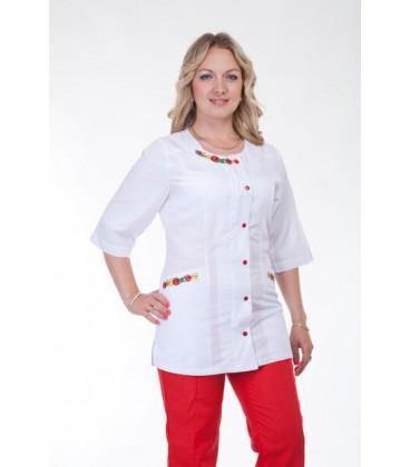 Медицинский женский костюм с вышивкой ( красный ) К-2259