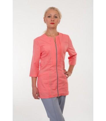 Медицинский женский костюм ( серый с коралловым ) 2284
