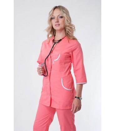 Медицинский женский костюм персиковый с окантовкой К-2252