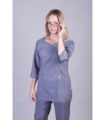 Медицинский женский костюм серый К-2228