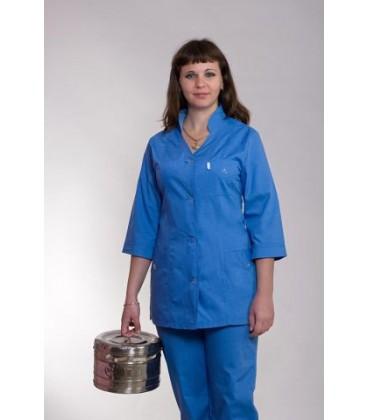 Медицинский женский костюм синий (воротник-стойка) К-2215