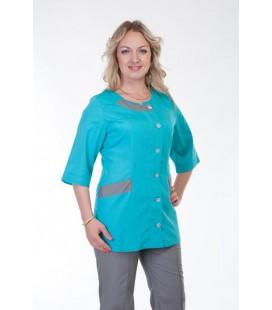Медицинский женский костюм 4265 серый с бирюзовым