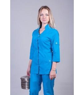 Медицинский женский костюм бирюзовый (воротник-стойка) К-2232