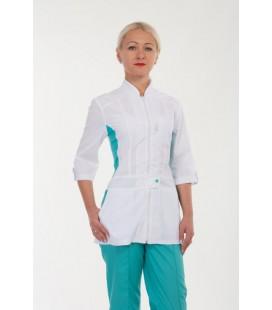 Медицинский женский костюм с вставками (бирюза) 2285