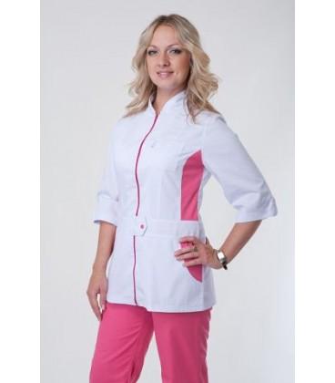 Медицинский женский костюм с вставками ( розовый ) К-3223