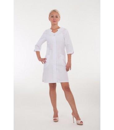 Женский медицинский халат с фигурным вырезом 2168