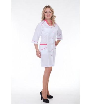Медицинский женский халат воротник-стойка (коралл) Х-2149