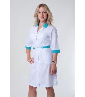 Медицинский женский халат 4146 с бирюзовым
