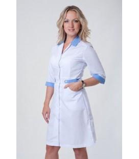Медицинский женский халат 4145 с голубым