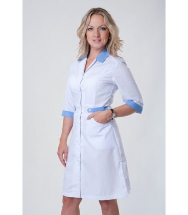 Медицинский женский халат (синий) Х-2145
