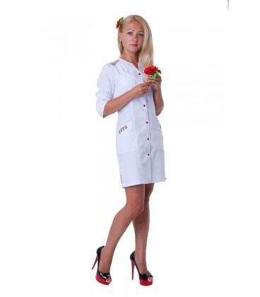 Оригинальный женский медицинский халат с вышивкой Х-2143