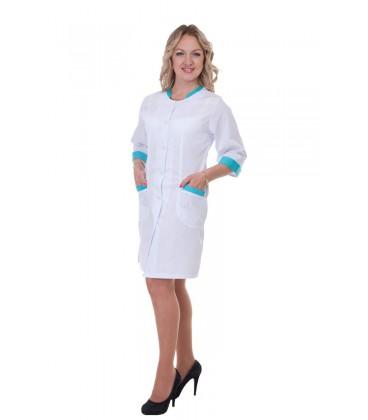 Медицинский женский халат с вставками (бирюза) Х-2151