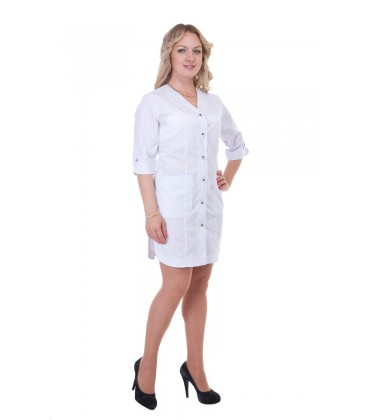Короткий женский медицинский халат на пуговицах Х-2155