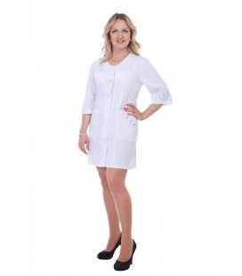 Женский медицинский халат короткий на пуговицах Х-2158