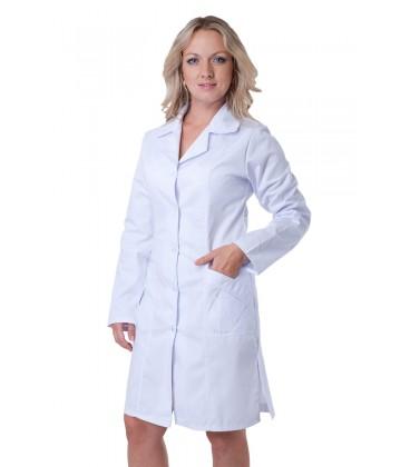 Коттоновый женский медицинский халат (длинный рукав) Х-3103