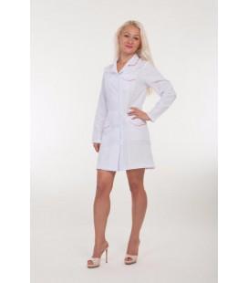 Короткий женский медицинский халат (длинный рукав) 1129