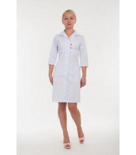 Женский медицинский халат на пуговицах ( красные петельки ) 3131