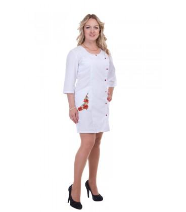 Медицинский женский халат с вышивкой (маки) Х-3126