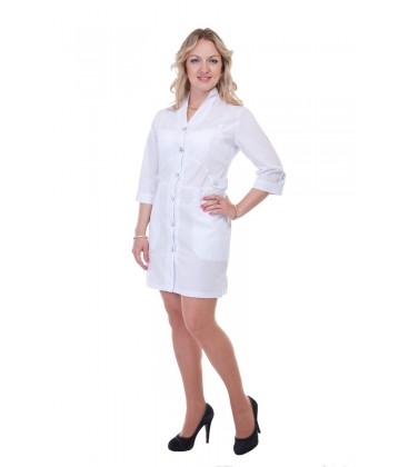 Белый медицинский женский халат Х-2154