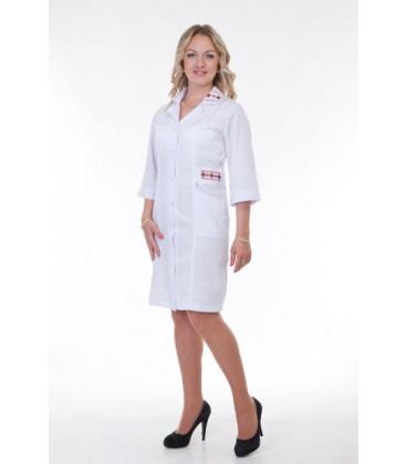 Медицинский женский халат с вышивкой до колен Х-3123