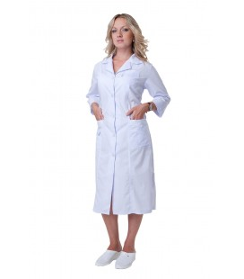Медицинский женский халат больших размеров ( за колено ) Х-2132