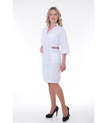 Медицинский женский халат с вышивкой-орнамент Х-3122