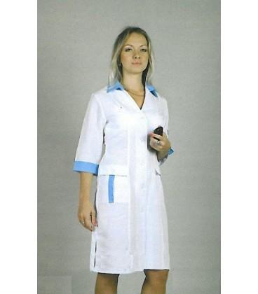 Медицинский женский халат с вставками (синий) 1104