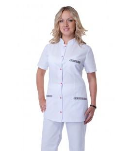 медицинский женский костюм с вышивкой К-2253 белый