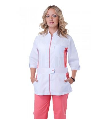 Медицинский женский костюм ( белый с персиковым ) К-2246