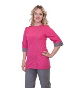 Медицинский женский костюм 4267 серый с малиной