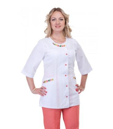Медицинский женский костюм с вышивкой ( персик ) К-2261
