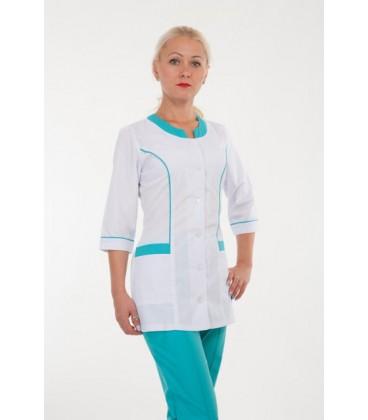 Медицинский женский костюм с вставками ( бирюза ) 2277-1