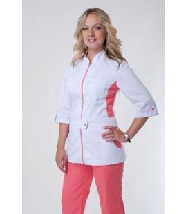 медицинский женский костюм с вставками К-3224 персиковый