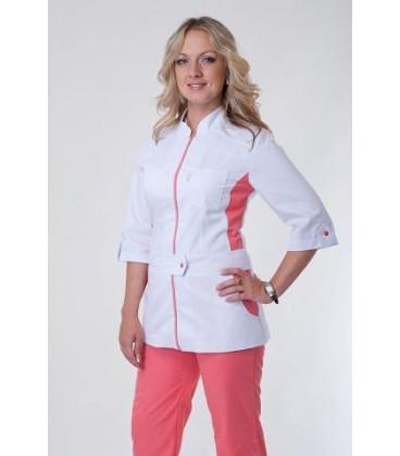 Медицинский женский костюм с вставками ( персиковый ) К-3224