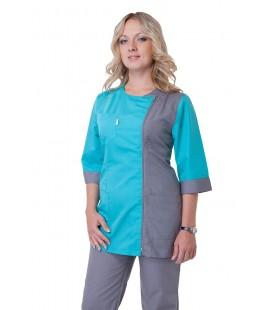 Медицинский женский костюм ( серый с бирюзой ) К-2250