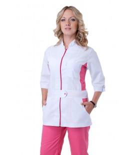 Медицинский женский костюм ( белый с розовым ) К-2247