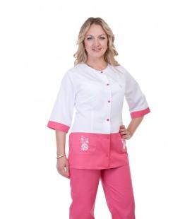 Медицинский женский костюм с вставками ( белый с розовым ) К-3228