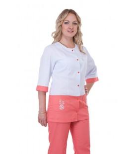 Медицинский женский костюм с вставками ( белый с персиковым ) К-3229