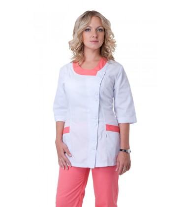 Медицинский женский костюм с вставками (розовый) К-2245